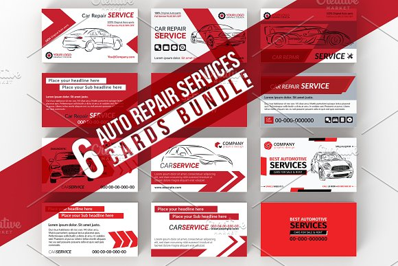 6 Car Services Card Bundle