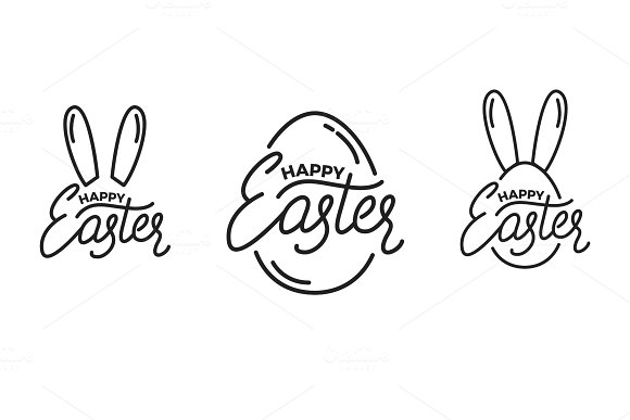 Easter Set Of Label Badge Emblems For Easter Easter Lettering And Linear Graphics