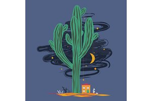 Cute cartoon illustration with high saguaro cactus and liitle house. Mexican fairy landscape, print for cards or textile