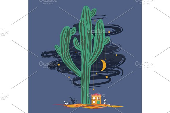 Cute Cartoon Illustration With High Saguaro Cactus And Liitle House Mexican Fairy Landscape Print For Cards Or Textile