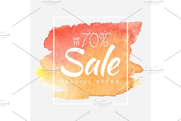 Watercolor Special Offer Super Sale Flyer Banner Poster Pamphlet Saving Upto 70% Off Vector Illustration With Abstract Paint Stroke