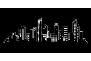 Vector black cities silhouette icon set on black. Night city lights