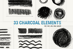 33 Charcoal hand painted elements