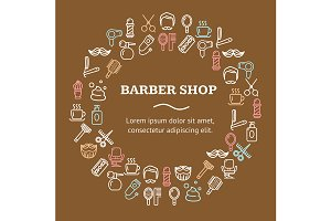 Barber Shop Round Design Template