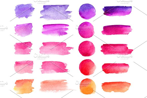 Colorful Vector Watercolor Brush Strokes Rainbow Colors Watercolor Paint Stains Vector Banner Backgrounds Set