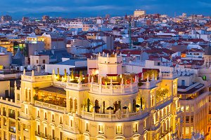 Madrid at beautiful twilight. Spain