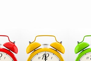 Set of 4 colorful alarm clocks