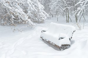 Snowy bench during snowstorm
