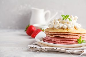 Stack of pink ombre  pancakes