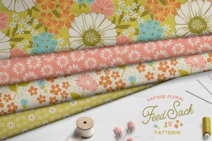 Vintage Floral Feedsack Patterns