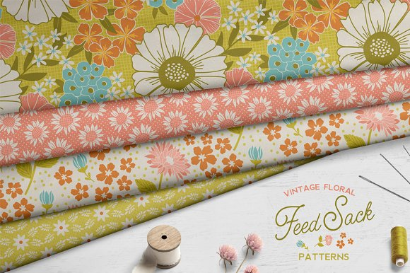 Vintage Floral Feedsack Patterns