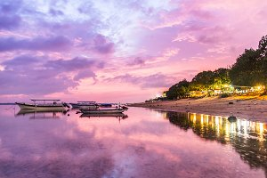 Sunset and calm beach in Indonesia