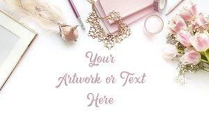 Spring Pink Theme desktop flatlay