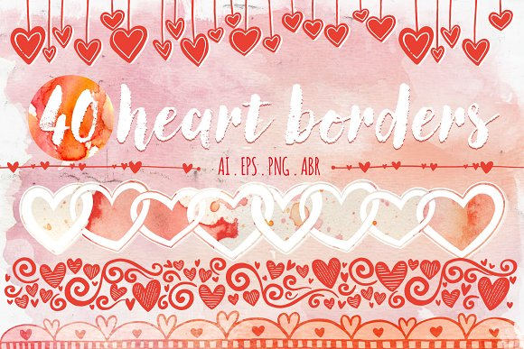 Valentine Heart Border Doodles