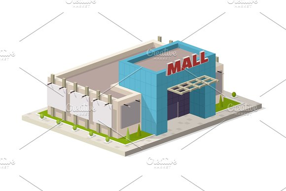 A Vector Illustration Of A Modern Shopping Center Isometric Shopping Mall Building Illustration