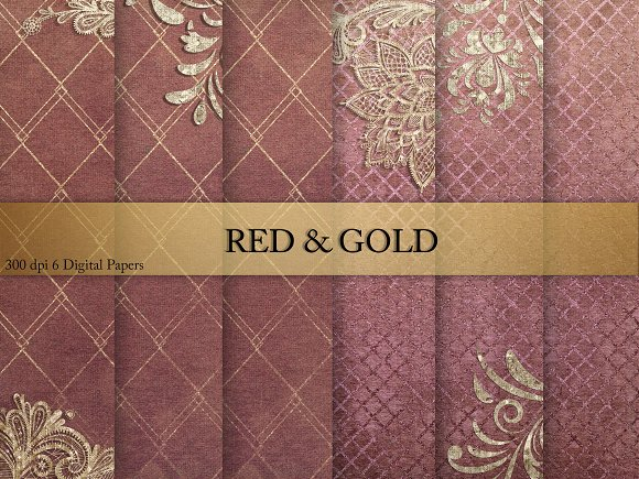 Gold Red Digital Paper
