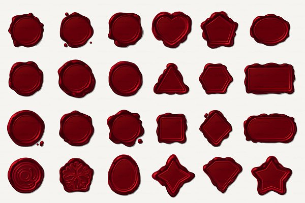 ♥ vector Wax seals dark red