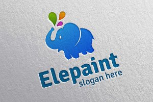 Colorful Elephant Vector Logo Design