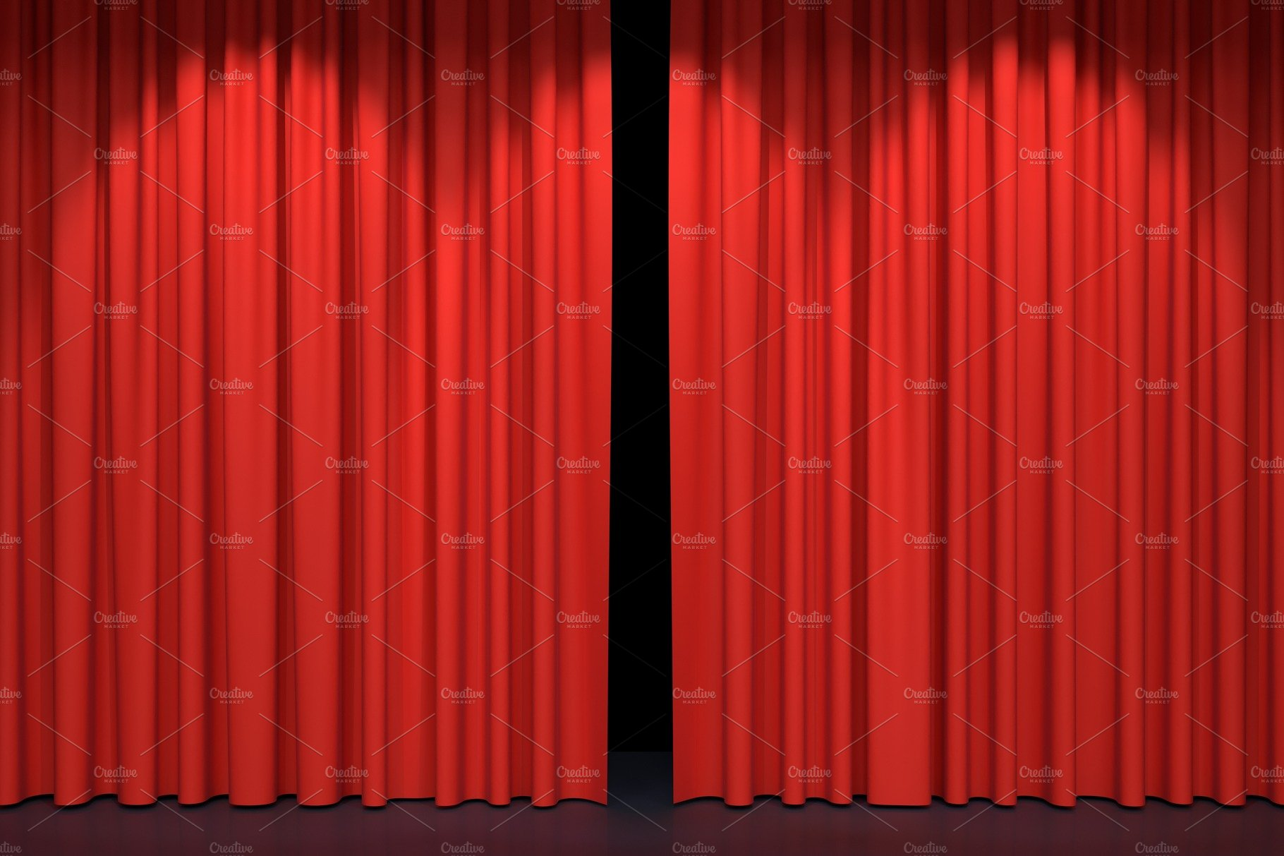Red Stage Curtains 3d Illustration Illustrations Creative Market