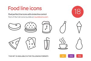 Food Line Icons Set