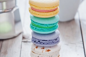 Stack of French colorful macarons