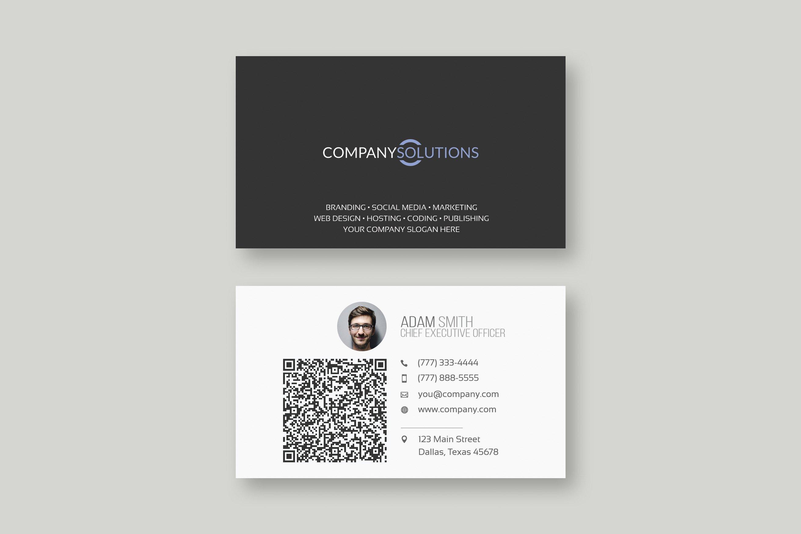 Modern QR Business Card Template  Creative Photoshop Templates With Qr Code Business Card Template