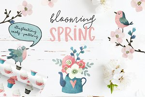 Blooming Spring watercolor set