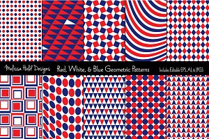 Red, White & Blue Geometric Patterns