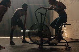 Fitness woman doing spinning
