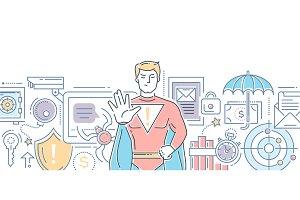 Internet security - modern line design style illustration