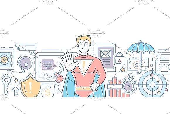 Internet Security Modern Line Design Style Illustration