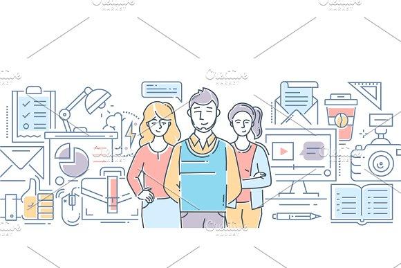 Design Studio Modern Line Design Style Illustration