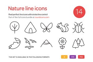 Nature Line Icons Set