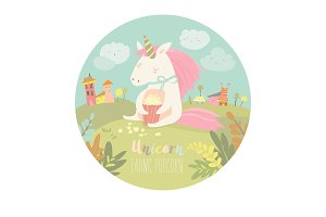 Cute unicorn eating popcorn