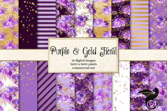 Purple And Gold Floral Digital Paper