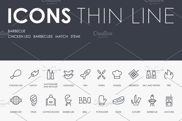 §Јarbecue Thinline Icons