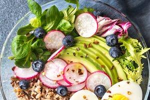 Bowl of wild rice with avocado