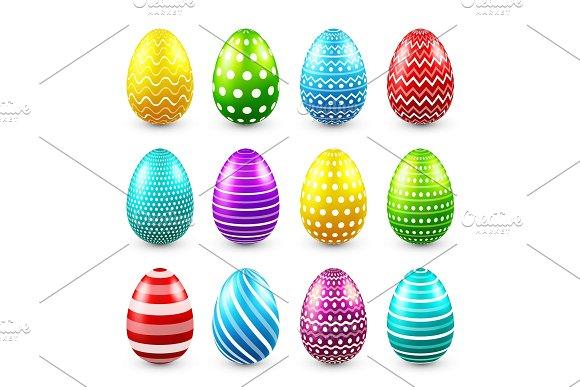 Easter Eggs Colored Set Spring Holidays In April Gift Seasonal Celebration.Egg Hunt Sunday