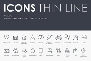 Wedding thinline icons