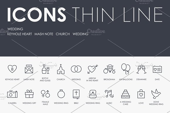 Wedding Thinline Icons