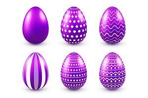 Easter eggs purple set. Spring. Holidays in April. Gift. Seasonal celebration.Egg hunt. Sunday.