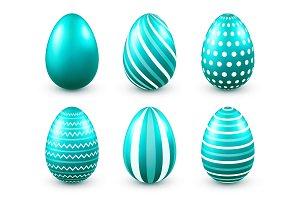 Easter eggs turquoise set. Spring. Holidays in April. Gift. Seasonal celebration.Egg hunt. Sunday.