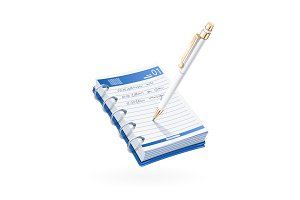 Ball pen write in notebook.