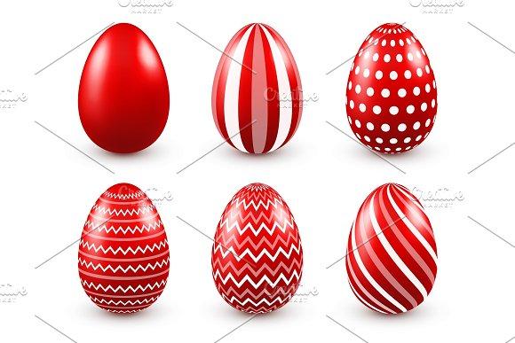 Easter Eggs Red Set Spring Holidays In April Gift Seasonal Celebration.Egg Hunt Sunday