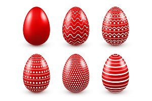 Easter eggs red set. Spring. Holidays in April. Gift. Seasonal celebration.Egg hunt. Sunday.