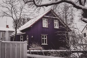 Violet House with Snow in Winter