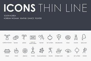 South Korea thinline icons