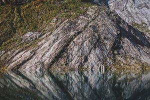 Mountain Range with Lake in Autumn