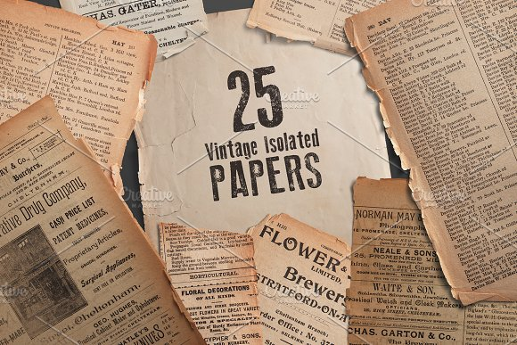 25 Vintage Isolated Papers