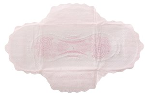 Sanitary napkin isolated on white background. Top view